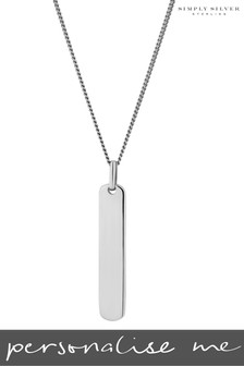Personalised Sterling Silver Engravable Bar Pendant by Simply Silver