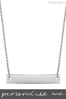 Personalised Silver Engravable Horizontal Bar Pendant By Simply Silver