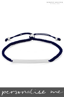 Personalised Sterling Silver Engravable Bar Navy Toggle Bracelet