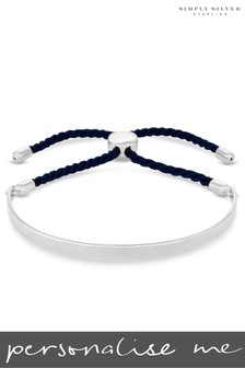 Personalised Sterling Silver Engravable Bangle Navy Cord Toggle Bracelet