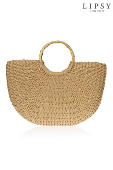 Lipsy Ring Handle Straw Bag