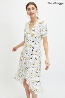 4b4d8908b6f8 Bodkované midi šaty Miss Selfridge s kvetmi a gombíkmi