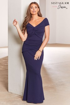 Sistaglam Loves Jessica Wright Bardot Knot Maxi Bodycon Dress