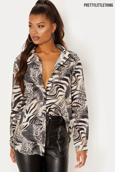 PrettyLittleThing Animal Print Oversized Shirt