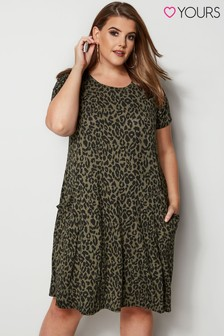 Yours Curve Animal Print Drape Pocket Dress