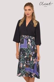 Closet Lapel Wrap A line Dress