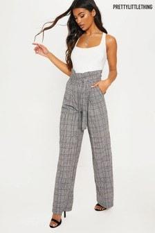 Pantalon large PrettyLittleThing à carreaux et taille cintrée