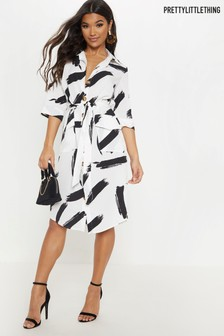 PrettyLittleThing Horn Button Midi Shirt Dress