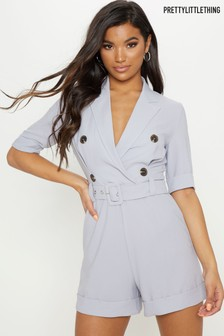 PrettyLittleThing Short Sleeve Collared Playsuit