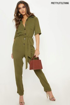 PrettyLittleThing Horn Button Self Belt Utility Jumpsuit
