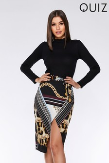Quiz Print Midi Skirt
