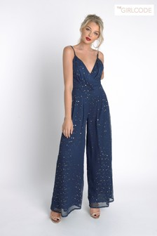 The Girl Code Star Sequin Pleated Wrap Wide Leg Jumpsuit