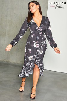 Sistaglam Loves Jessica Floral Print Wrap Dress