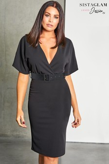 Sistaglam Loves Jessica Belted Midi Bodycon Dress