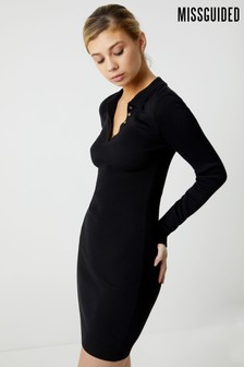 Missguided Polo Ribbed Bodycon Dress