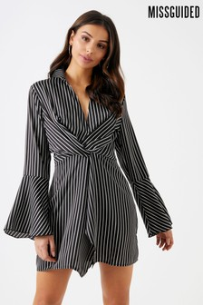 Missguided Pinstripe Twist Front Dress