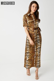332c1af6848546 Missguided Tiger Print Midaxi Shirt Dress