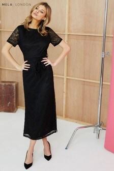 Mela London Short Sleeve Lace Maxi Dress