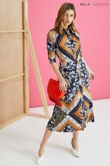 Mela London Scarf Print Shirt Dress