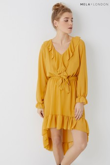 Mela London Ruffle Front High Low Dress