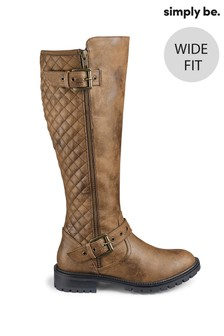 Simply Be Wide Fit Quilted Buckle Detail Biker Boots
