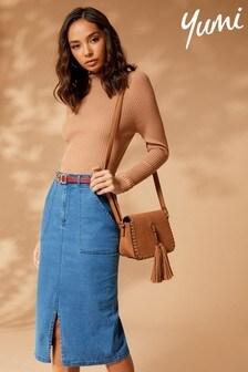 Yumi Front Split Denim Skirt