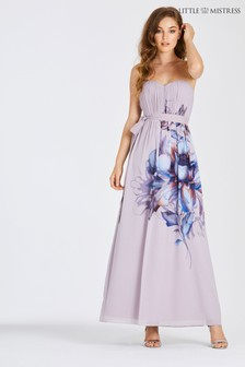 Little Mistress Floral Placement Bandeau Maxi Dress