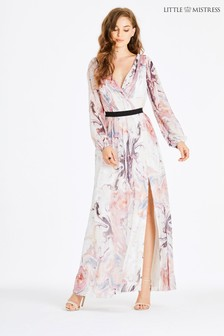 Little Mistress Marble Print Plunge Maxi Dress