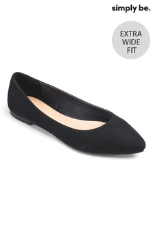 Simply Be Extra Wide Fit Pointed Ballerina Shoes