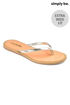 Simply Be Extra Wide Fit Studded Sole Flip Flops