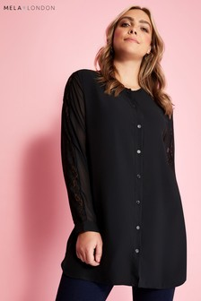 Mela London Curve Button Down Blouse