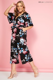 Mela London Curve Floral Print Belted Jumpsuit