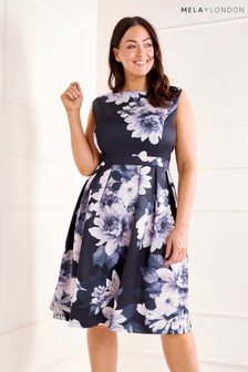 Mela London Curve Floral Print Prom Dress