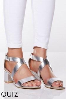 Quiz Faux Leather Cross Strap low Block Heel Sandals