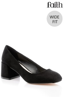 Faith Wide Fit Square Heeled Shoes