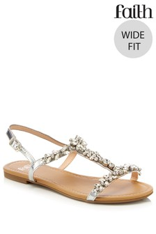faeb0ff166a4 Faith Wide Fit Flat Sandals