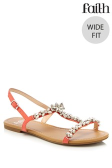 Faith Wide Fit Flat Sandals