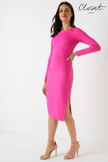 Opinająca sukienka z długim rękawem Closet