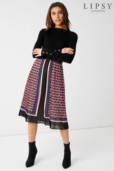 Lipsy Geometric Print Pleated Midi Skirt