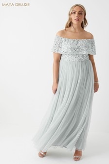 Maya Curve Bardot Sequined Maxi Dress