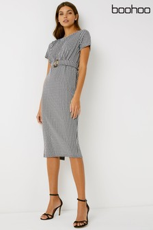 Boohoo Houndstooth Belted Midi Dress