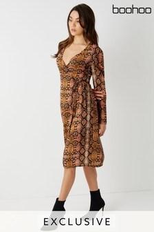 Boohoo Snake Print Wrap Midi Dress