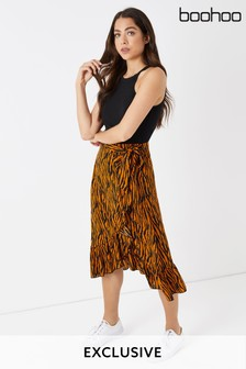 Boohoo Tiger Print Wrap Skirt