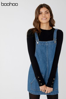 Boohoo Denim Pinafore Dress
