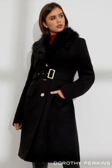 Dorothy Perkins Faux Fur Collar Coat