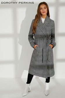 Dorothy Perkins Monochrome Check Wrap Coat