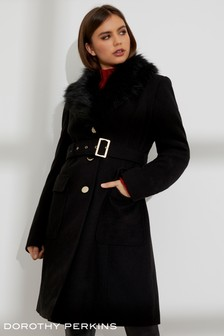 Dorothy Perkins Faux Fur Wrap Coat