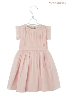 Maya Mini Tulle Ruffle Sleeve Bow Dress