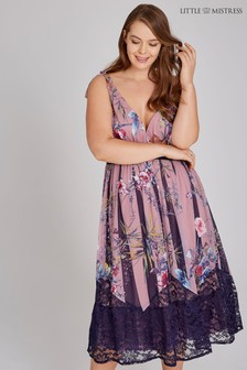 Vestido a media pierna con estampado floral de Little Mistress Curve