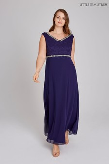 Little Mistress Curve Embellished Lace Maxi Dress